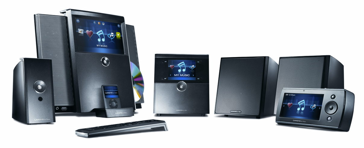 Familiebillede af wireless home audio systemet fra linksys by cisco