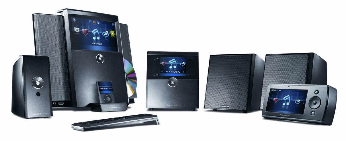 Familiebillede af wireless home audio systemet fra linksys by cisco