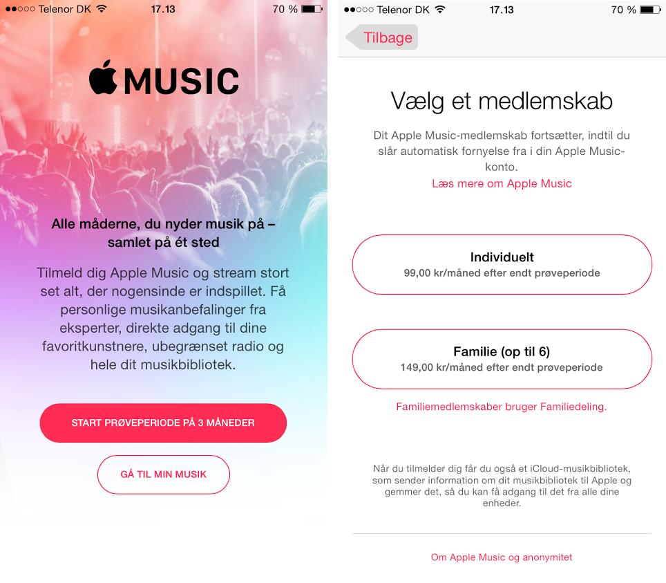 Apple Music tilmelding