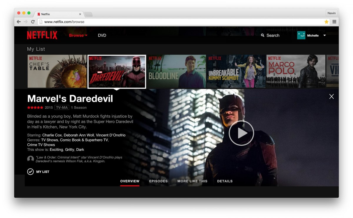 Det nye design på Netflix hjemmeside sommer 2015