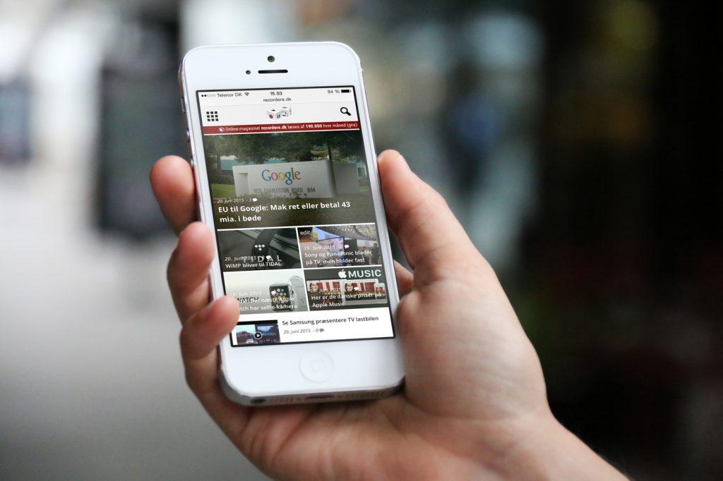recordere.dk på iPhone