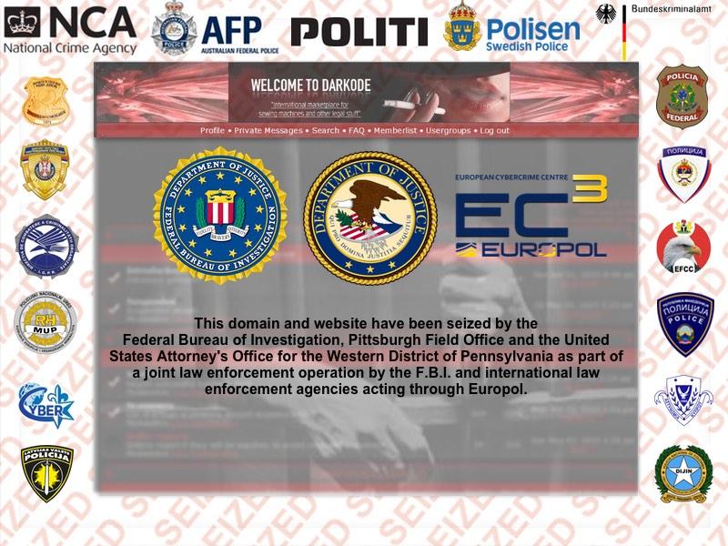 Darkode.com lukket. Screenshot: Rigspolitiet