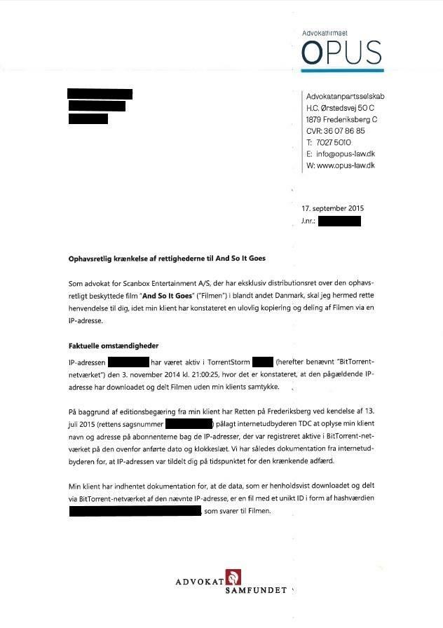 Brevet fra OPUS som flere Popcorn Time brugere har modtaget.