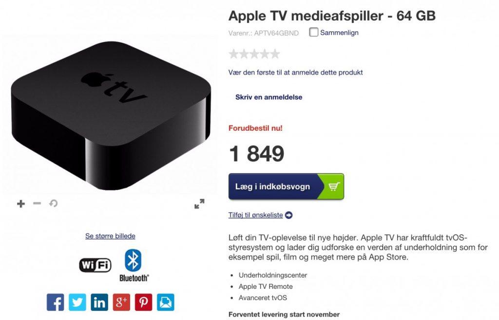 AppleTV 4 kan nu bestilles hos Elgiganten.