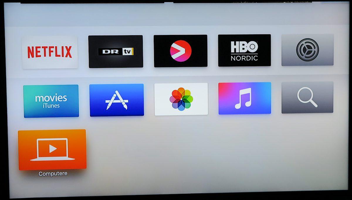 Tilpasset forside på Apple TV. Foto: recordere.dk