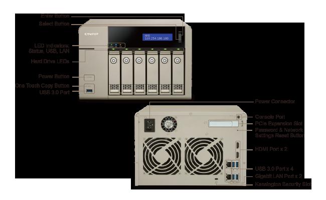 De mange knapper og porte på QNAP TVS-663