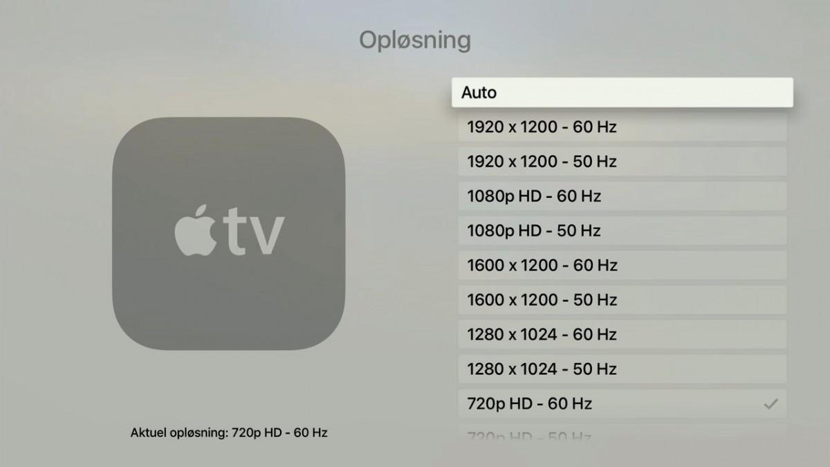 Apple TV 4 indstillinger
