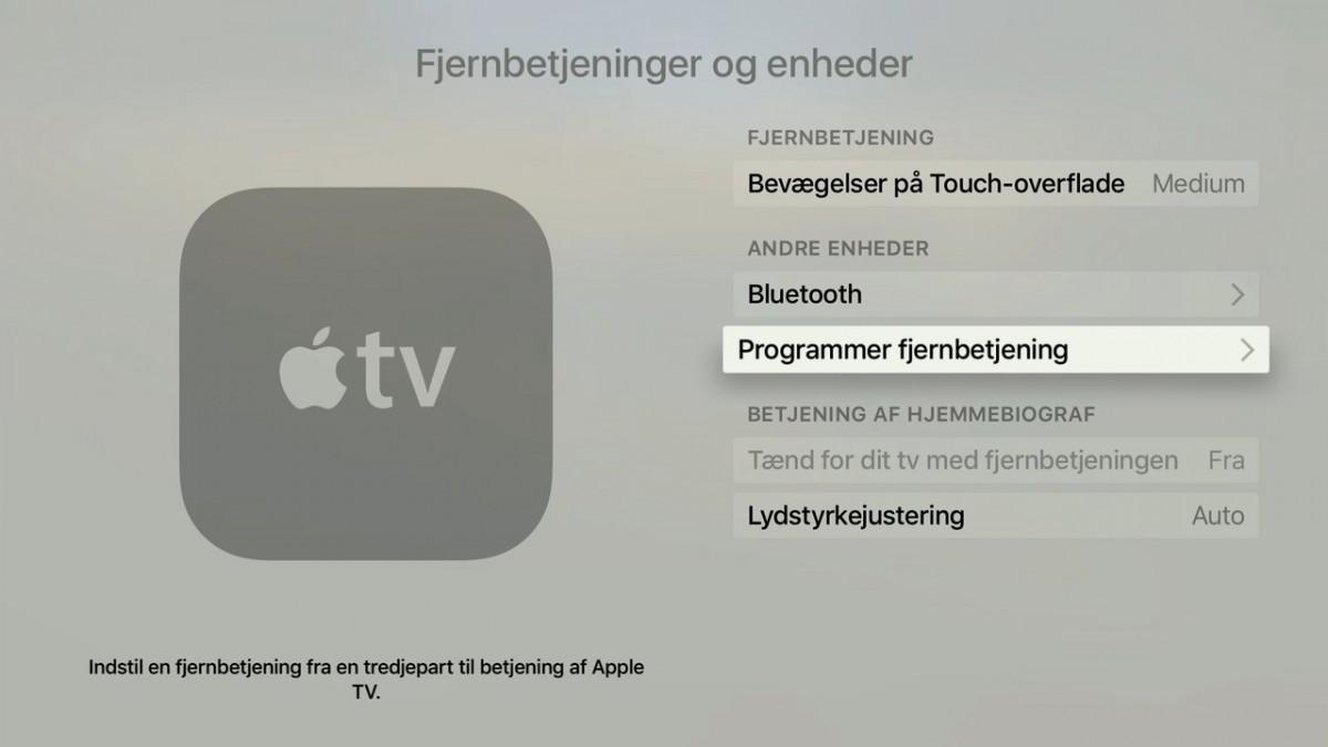 Apple TV 4 indstillinger. Foto: recordere.dk