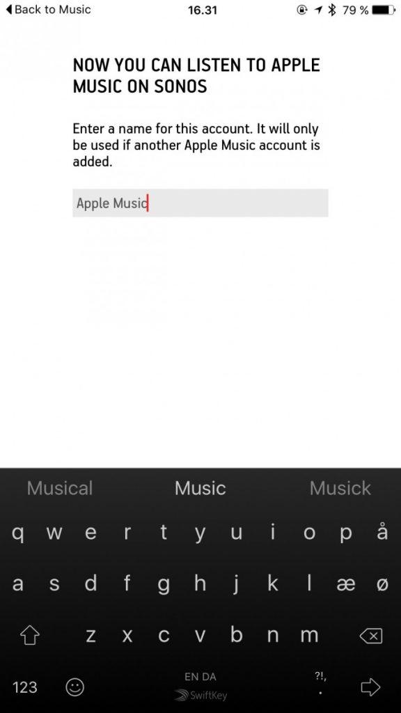 Navngivning af Apple Music musiktjeneste på Sonos