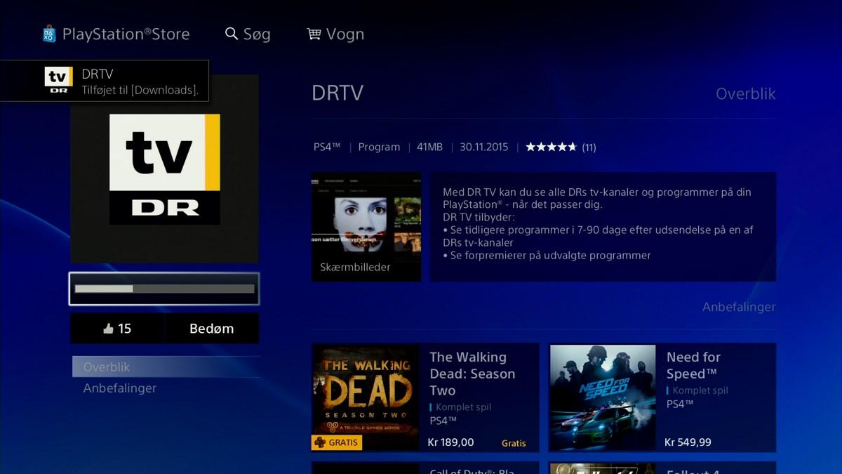 DR TV på PlayStation 4. Foto: recordere.dk