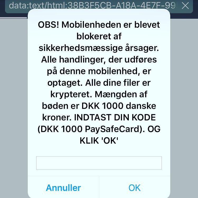 En falsk ransomware på Safari på iPhone.