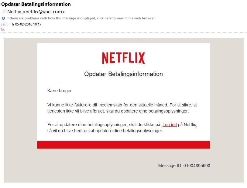Falsk email udgiver sig for Netflix. Foto: Nicki Sørensen