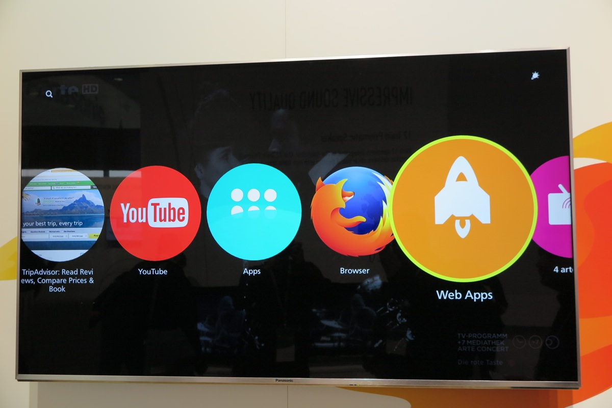 TV apps på Firefox på 2016 Panasonic TV. Foto: recordere.dk