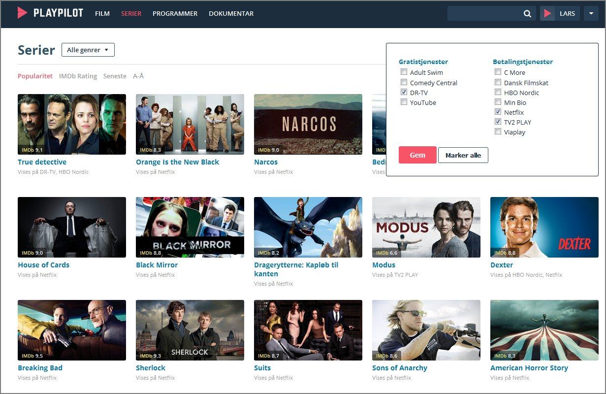 I PlayPilot fortælles hvilke tjenester der skal vises indhold fra.