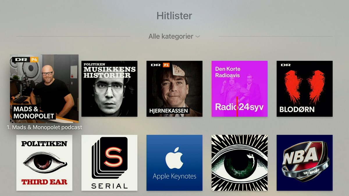 Podcasts på Apple TV 4
