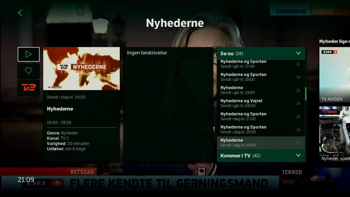 Info om arkivudsendelsen. Her er også favorit valg (hjertet). Foto: recordere.dk