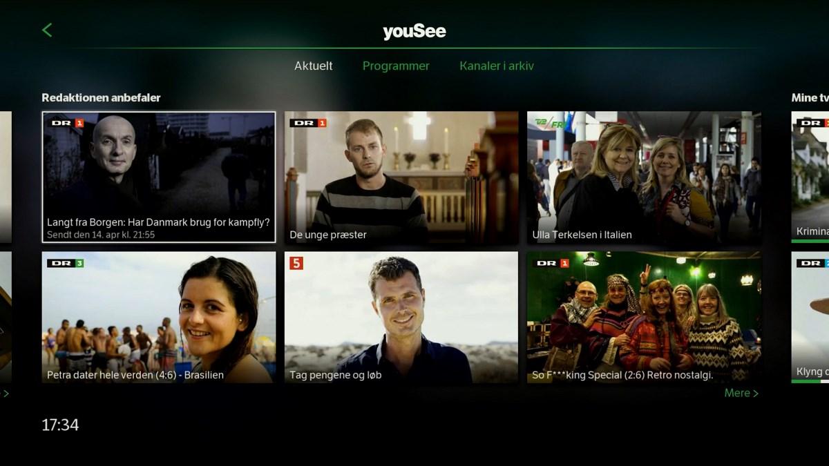 Min side har også anbefalede programmer. Foto: recordere.dk