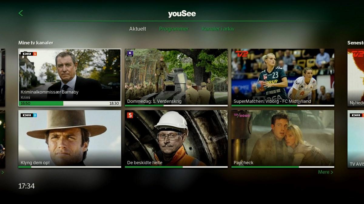 Min side viser også dine tv-kanaler. Foto: recordere.dk