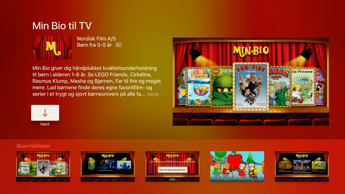 Min Bio på Apple TV 4. Foto: recordere.dk
