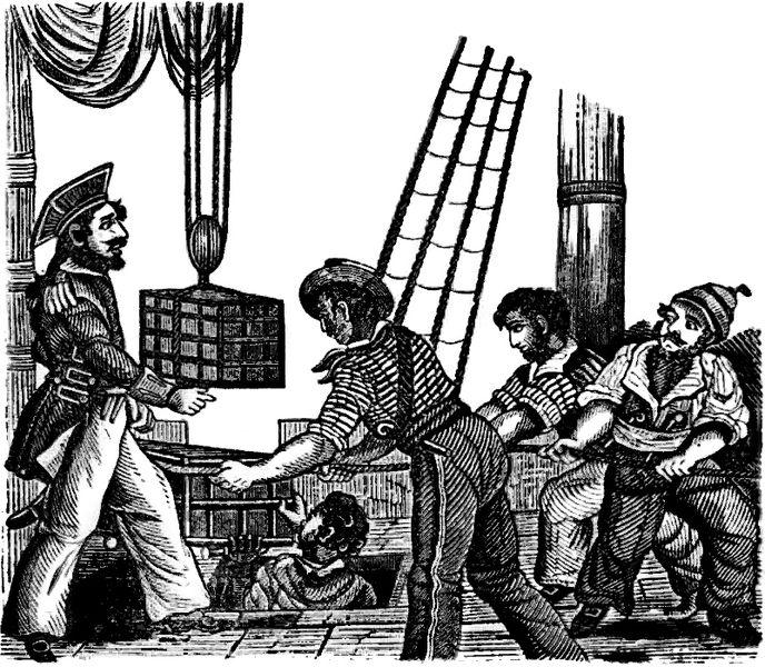 Henry Avery tager imod guld på sit skib