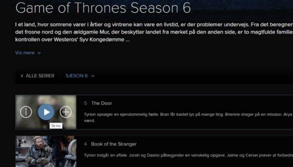 Bevis for at afsnit fem var tilgængelig på HBO Nordic.