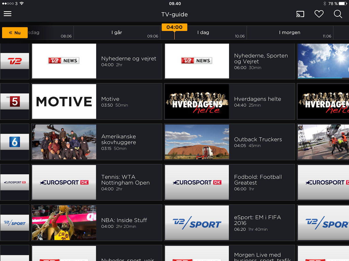 Canal Digital Go tv-guide arkiv. Screenshot: recordere.dk