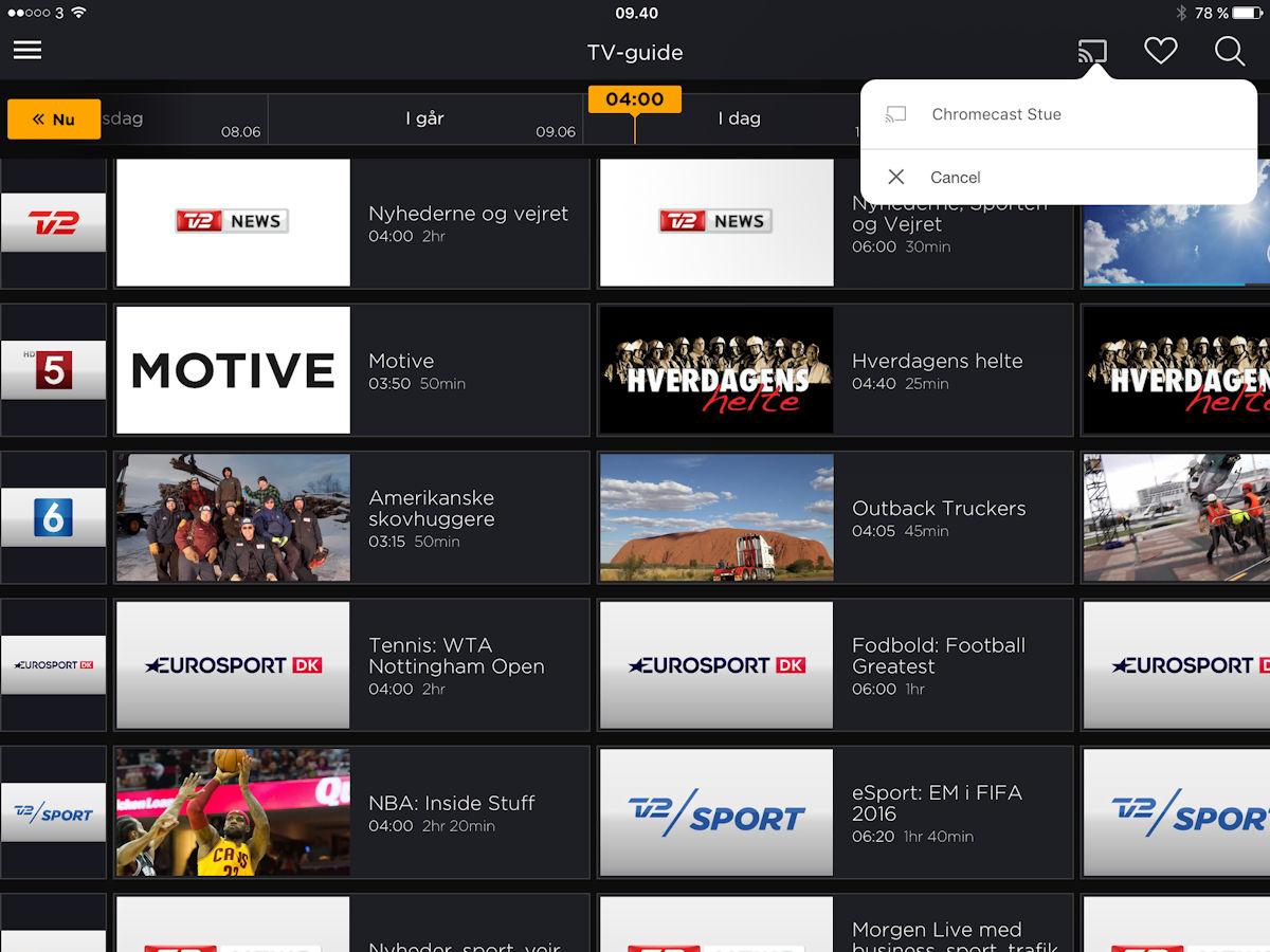 Canal Digital Go chromecast. Screenshot: recordere.dk