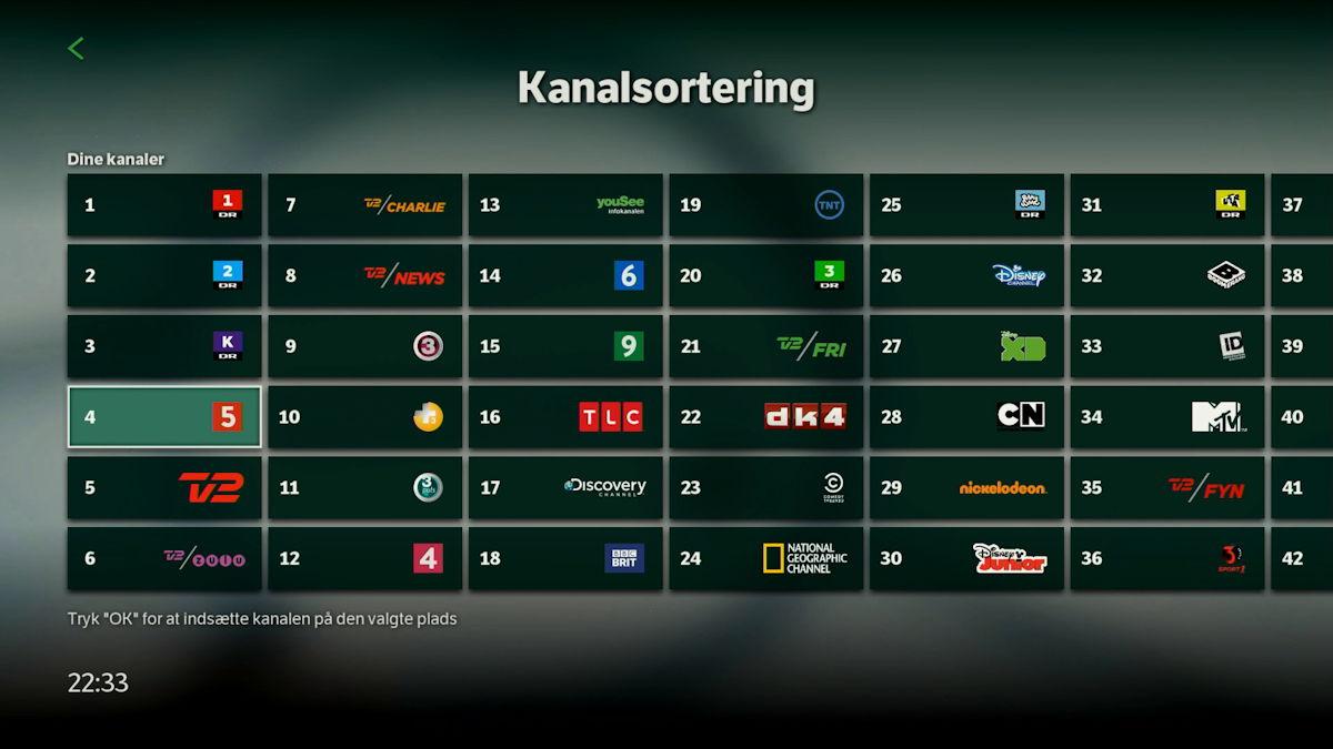 Kanalsortering på ny YouSee boks. Screenshot: recordere.dk