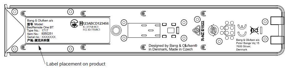 Indmaden i den nye Beoremote One BT. Foto B&O / FCC