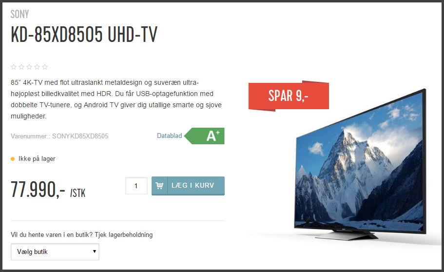 Tilbud i Hi-Fi Klubben. Spar 9 kroner på et TV til 80k kr.