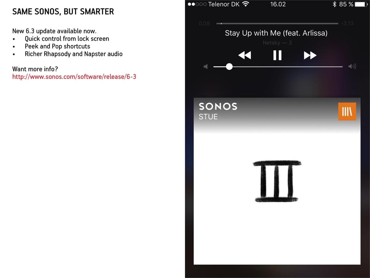 Sonos 6.3 software (screenshots: recordere.dk)