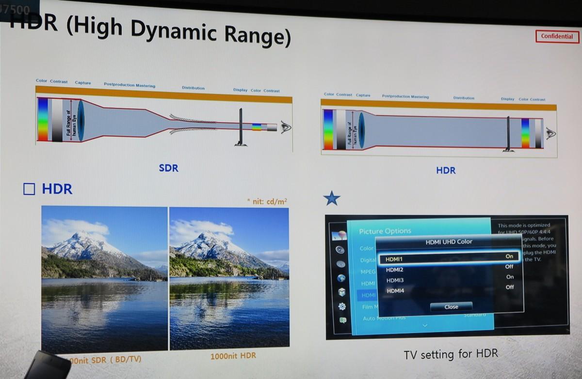 HDR giver større dynamik og flere detaljer. Foto fra Samsung præsentation.
