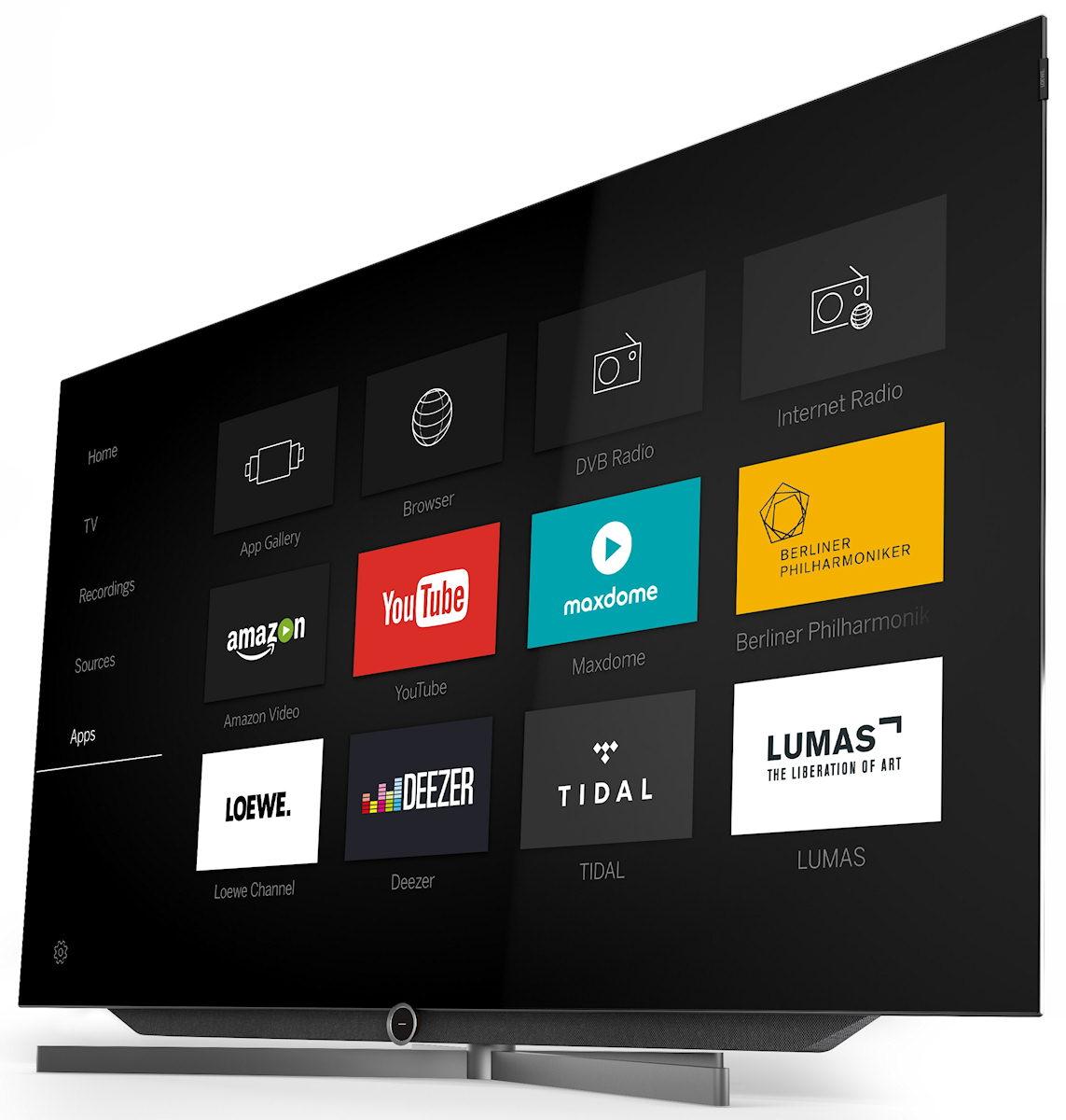Loewe Bild 7 OLED TV. Højttaler synlig.