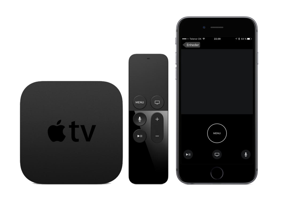 Apple TV + remote + remote app