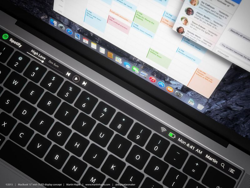 Sådan forestiller designeren Martin Hajek sig, at den nye OLED-touchskærm på MacBook Pro kommer til at se ud.