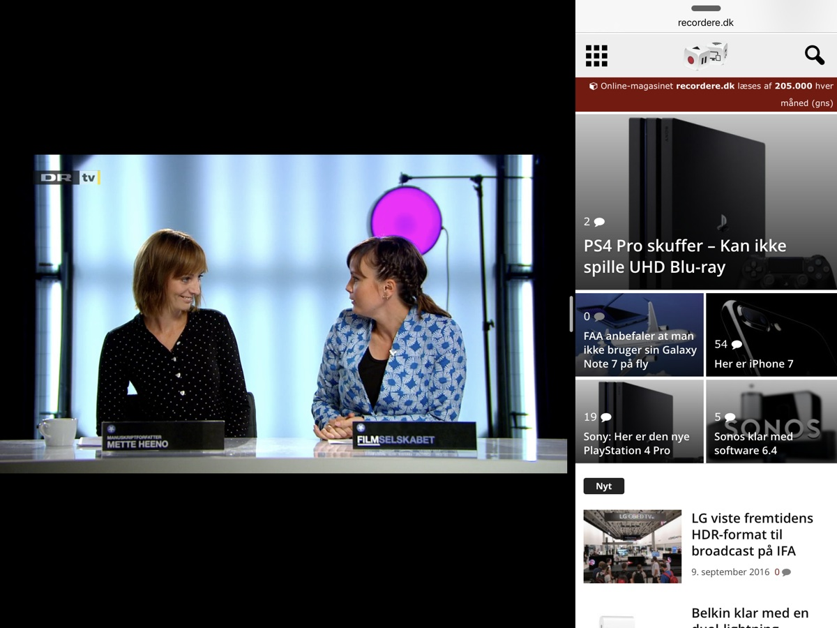 DRTV i splitscreen på iPad. Foto: recordere.dk