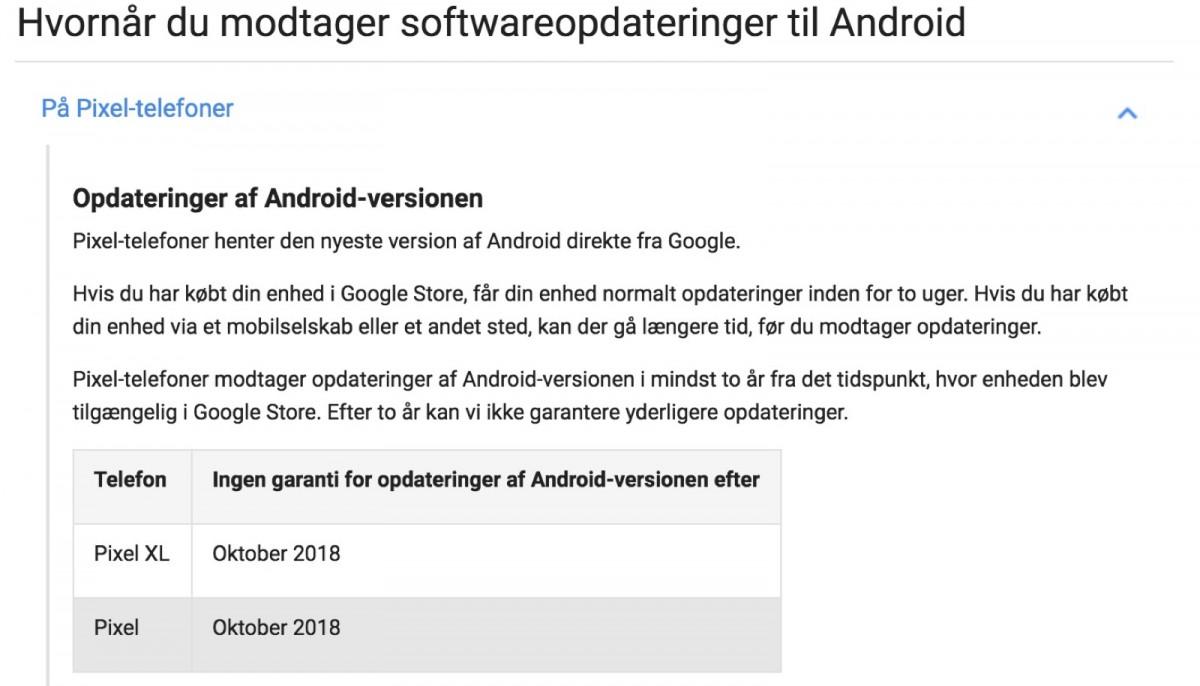 Googles egen tekst omkring opdateringer til Pixel.
