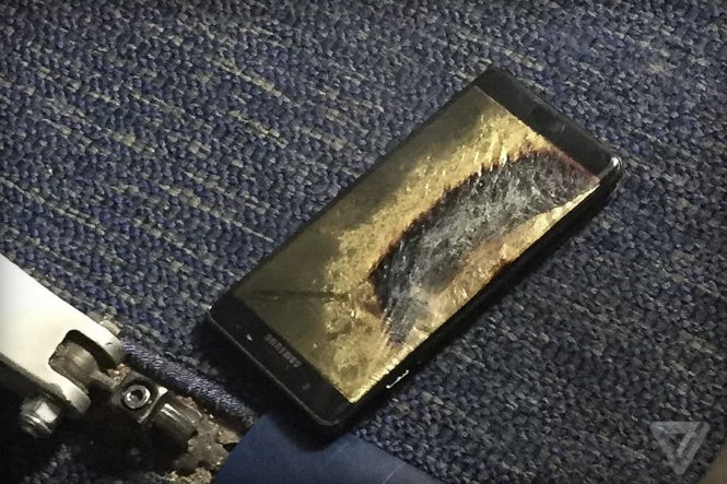 Den ombyttede afbrændte Samsung Galaxy Note 7. Foto: Brian Green via The Verge