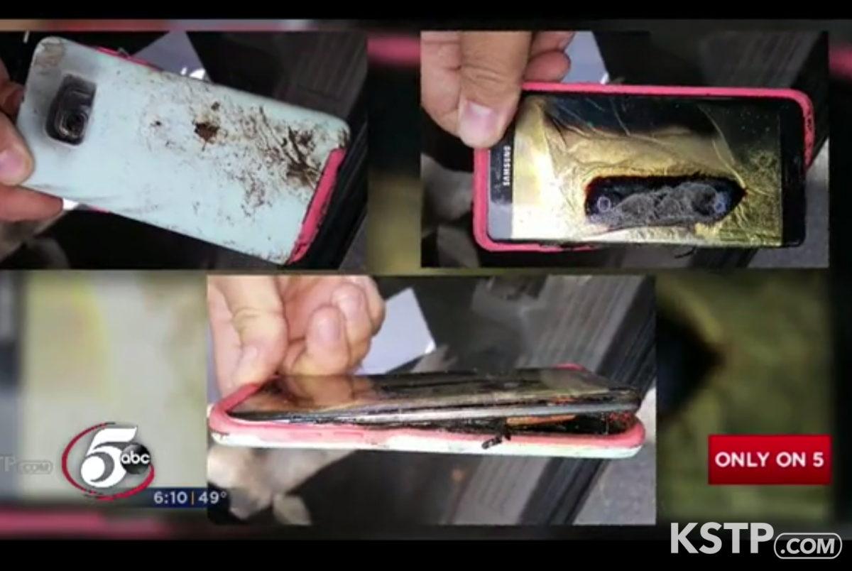 13-årige Abby Zuis fra USA oplevede at hendes Galaxy Note 7 overophedede i lommen. Screenshot fra KSTP TV.