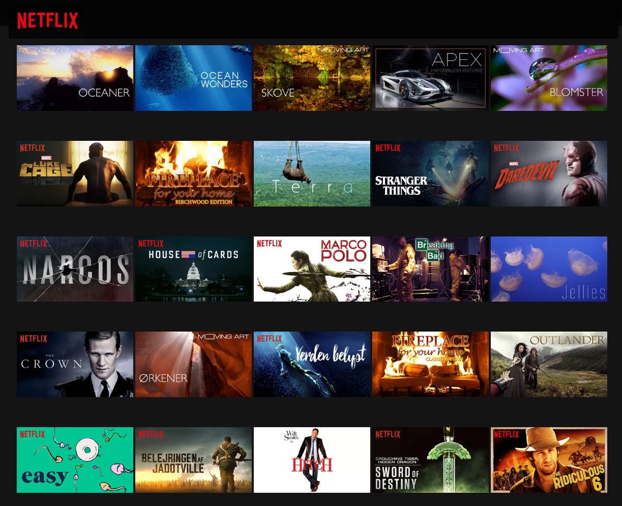 Noget af det indhold der er på Netflix i 4K-kvalitet