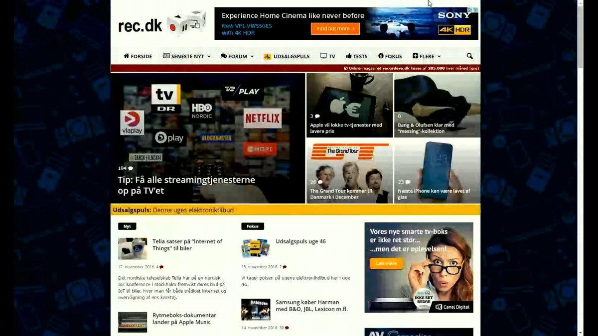 Indholdet af en Chrome browser kan også spejles fra computer over på Chromecast